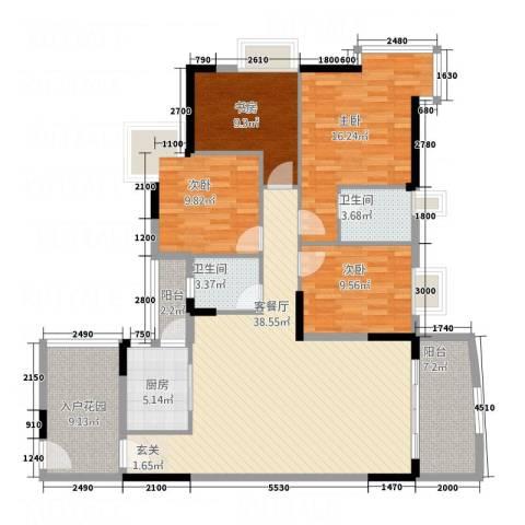 凯旋居4室1厅2卫1厨114.19㎡户型图