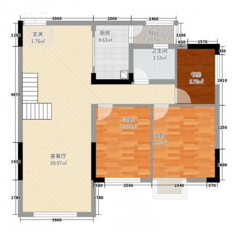 留茗花苑3室1厅1卫1厨88.00㎡户型图