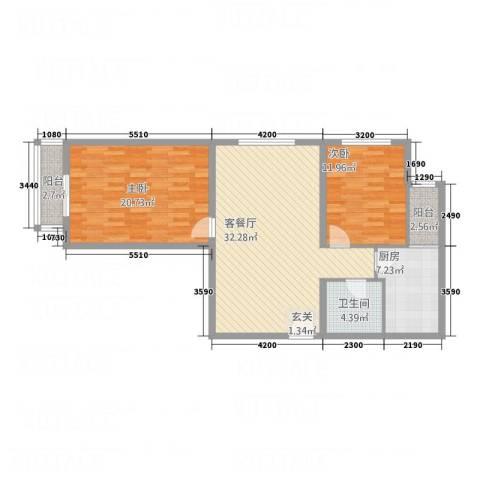 阳光华庭2室1厅1卫1厨115.00㎡户型图