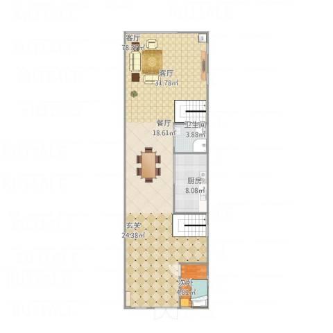 公园道1号1室1厅1卫1厨125.00㎡户型图