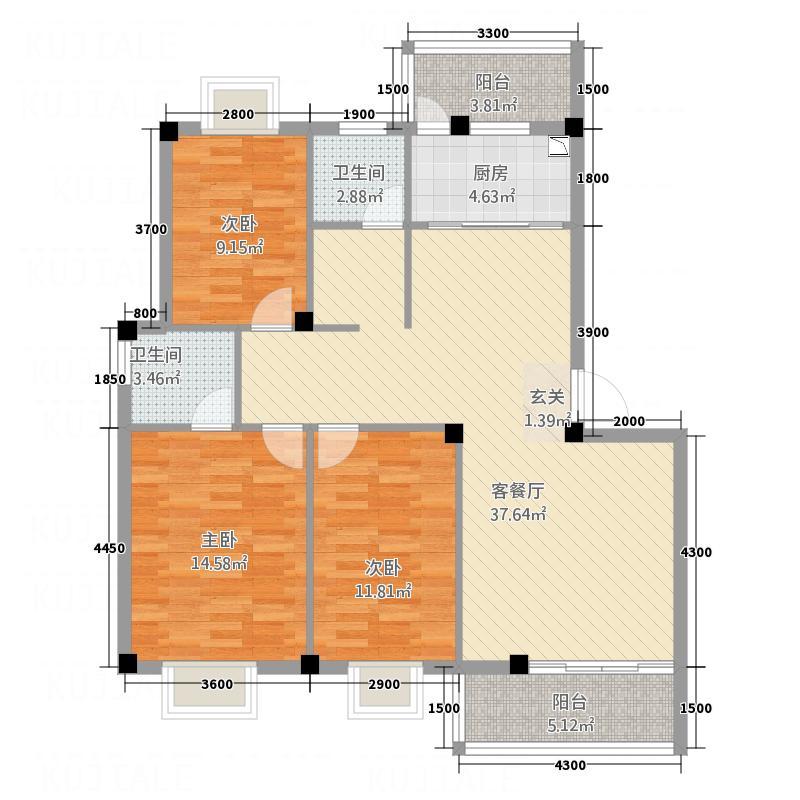 博林・城东嘉苑113.30㎡A2-1户型3室2厅2卫1厨