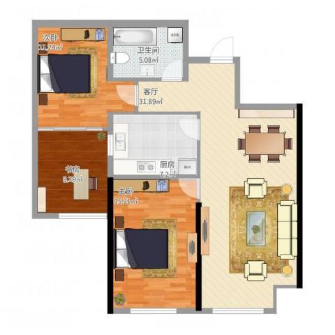 哈尔滨星光耀广场3室1厅1卫1厨101.00㎡户型图