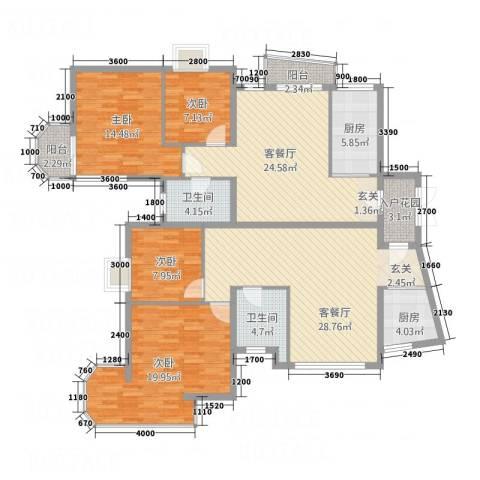天安河滨花园4室2厅2卫2厨182.00㎡户型图