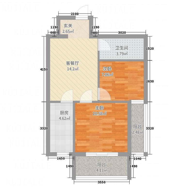 宝华新城61.47㎡5#A5户型2室1厅1卫