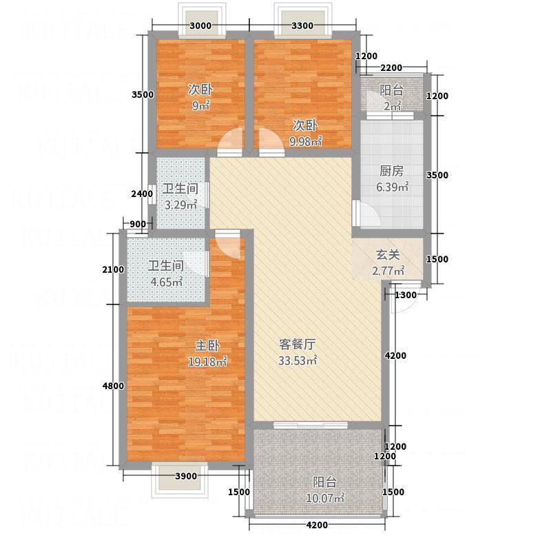 丽都新城12.70㎡A型户型3室2厅2卫1厨