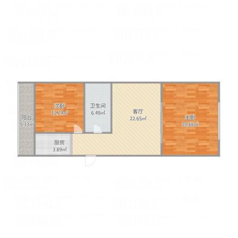康桥里2室1厅1卫1厨96.00㎡户型图