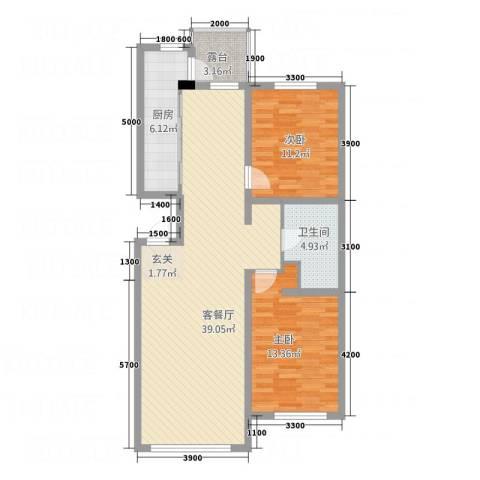 水木清华2室1厅1卫1厨77.82㎡户型图