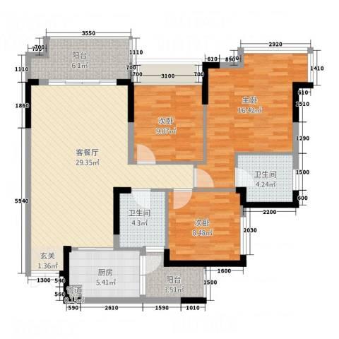 人民家园3室1厅2卫1厨124.00㎡户型图