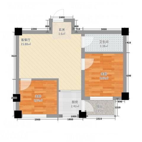 北海名城2室1厅1卫1厨56.00㎡户型图