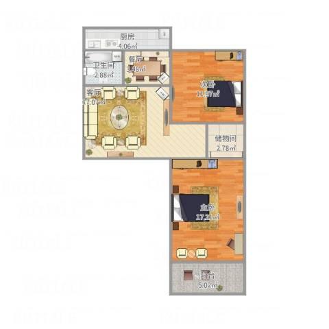 老屯铁路小区2室2厅1卫1厨88.00㎡户型图