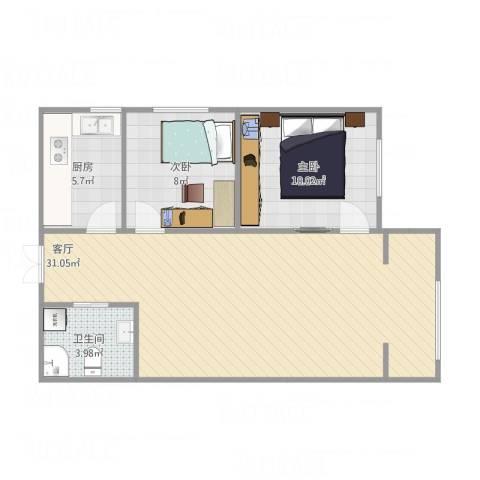 御龙庭2室1厅1卫1厨79.00㎡户型图