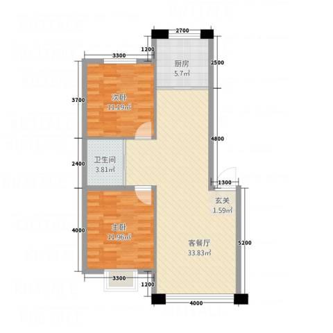 御湖国际2室1厅1卫1厨88.00㎡户型图