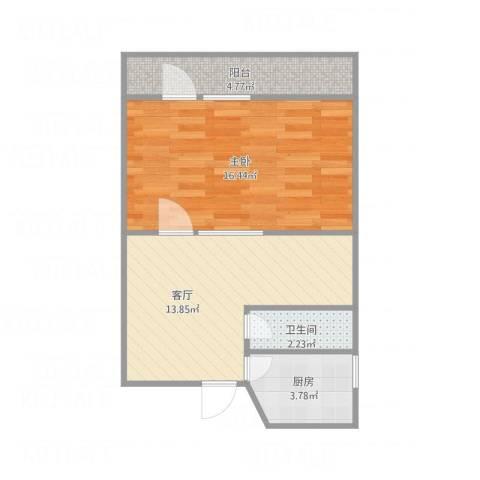佳园北里1室1厅1卫1厨56.00㎡户型图