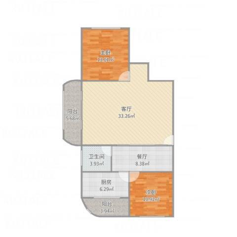 白玉兰家园2室2厅1卫1厨113.00㎡户型图