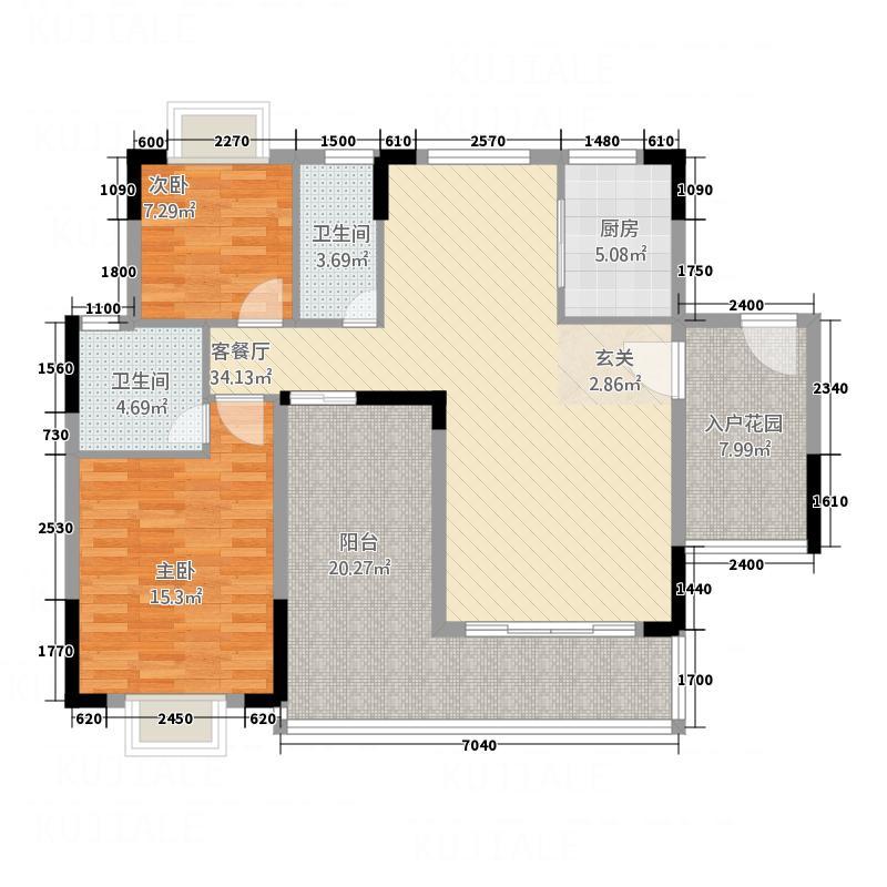 鼎湖森邻Q栋2、3、5、8、11层平面图户型2室2厅2卫1厨