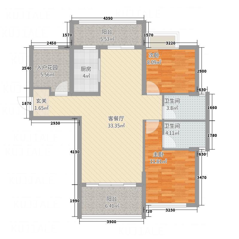 裕湘公馆68.74㎡B3户型2厅2卫