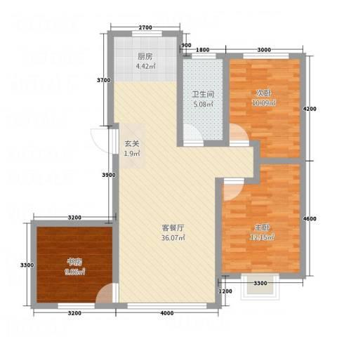 御湖国际3室1厅1卫0厨72.44㎡户型图