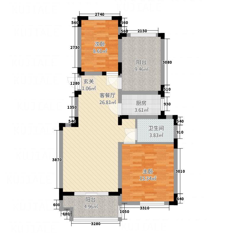 世界名城11.00㎡B-户型3室2厅1卫1厨