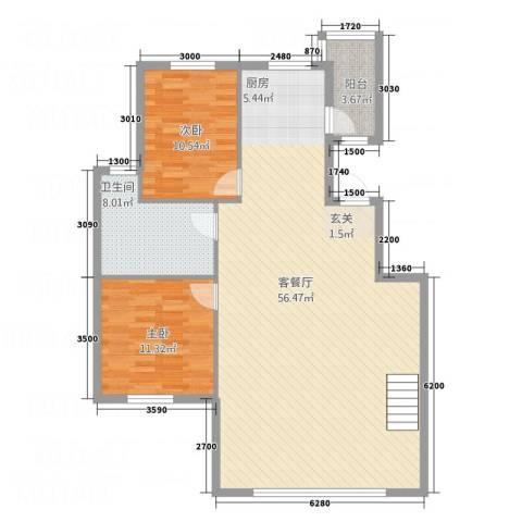 华烁・梧桐苑2室1厅1卫0厨123.00㎡户型图