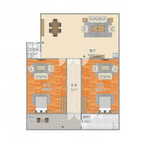 玉函小区2室1厅1卫1厨189.00㎡户型图