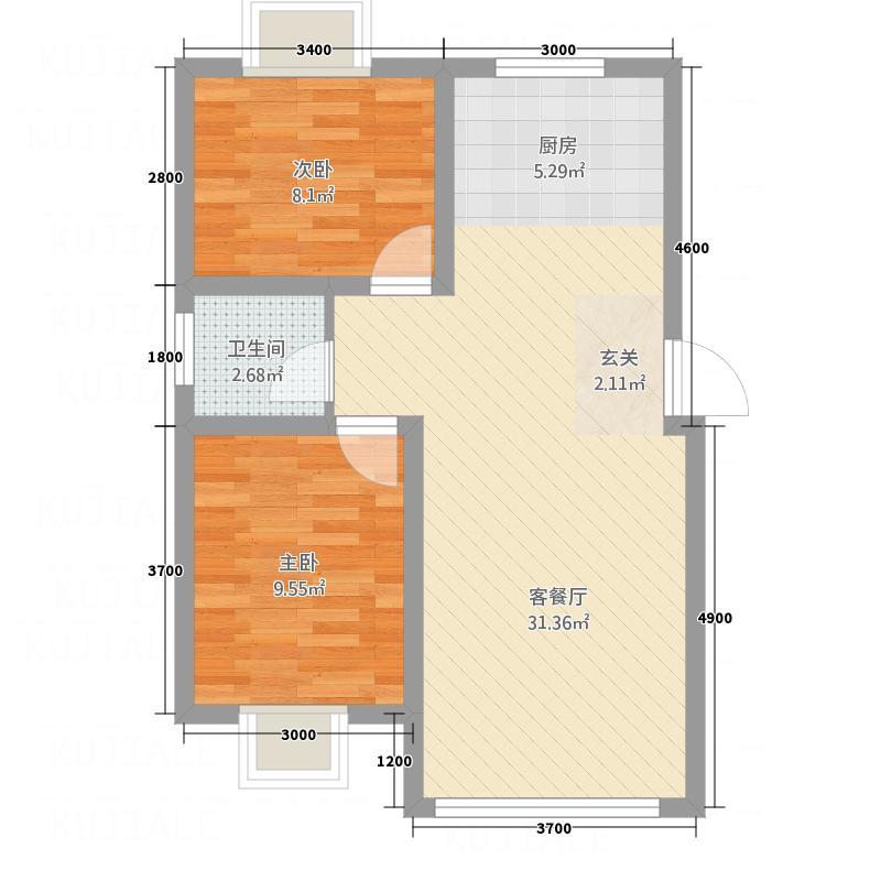 御湖国际7.00㎡户型2室2厅1卫