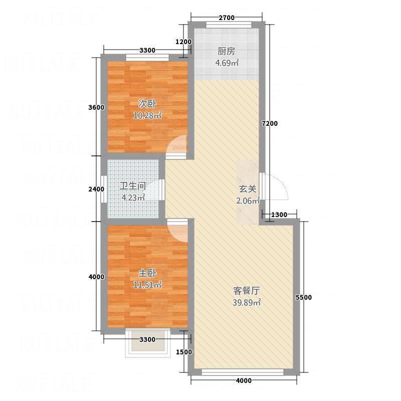 御湖国际户型2室2厅1卫
