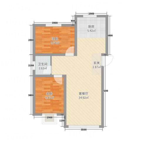 御湖国际2室1厅1卫0厨56.76㎡户型图