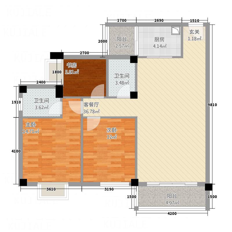 博林・城东嘉苑B2户型3室2厅2卫1厨