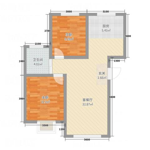 御湖国际2室1厅1卫0厨57.38㎡户型图