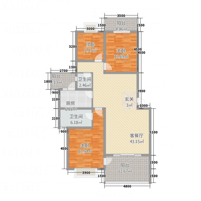 丽都新城138.60㎡D1型户型3室2厅2卫1厨