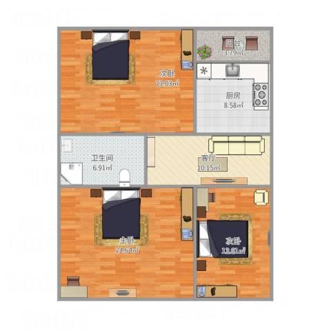 二七广场3室1厅1卫1厨121.00㎡户型图