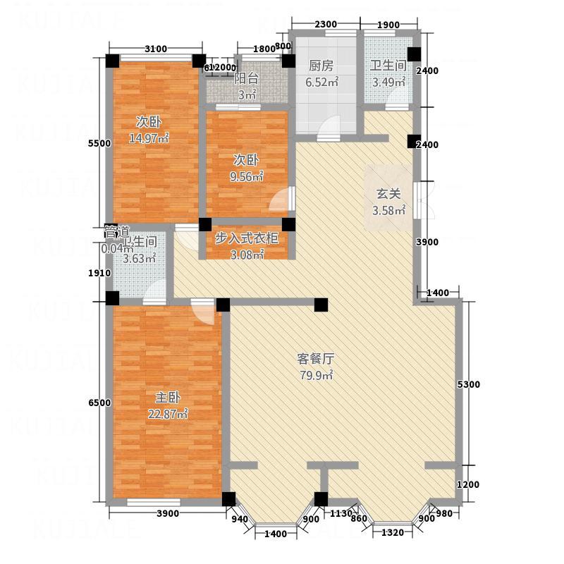景典杰座1.15㎡C户型3室2厅2卫