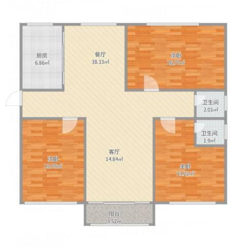 豪森茗家3室1厅2卫1厨129.00㎡户型图