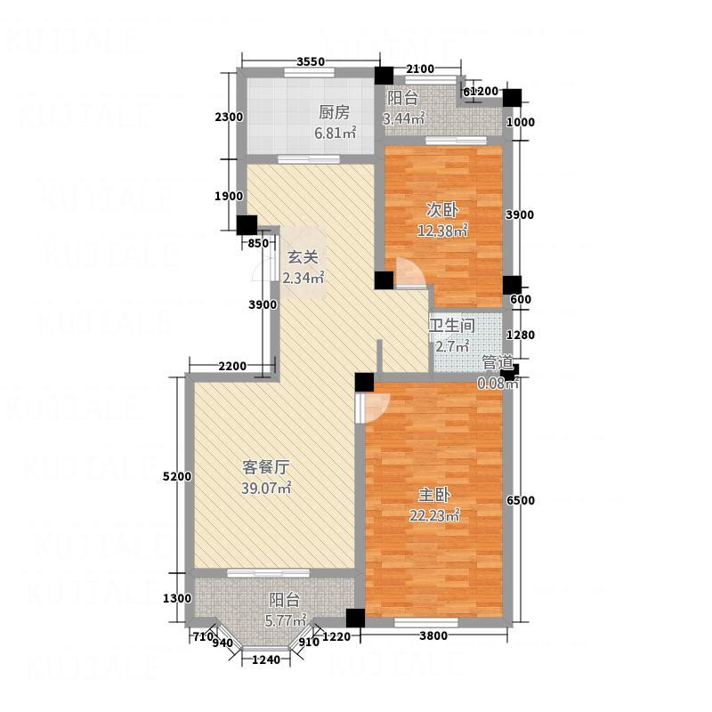 景典杰座122.40㎡B户型2室2厅1卫