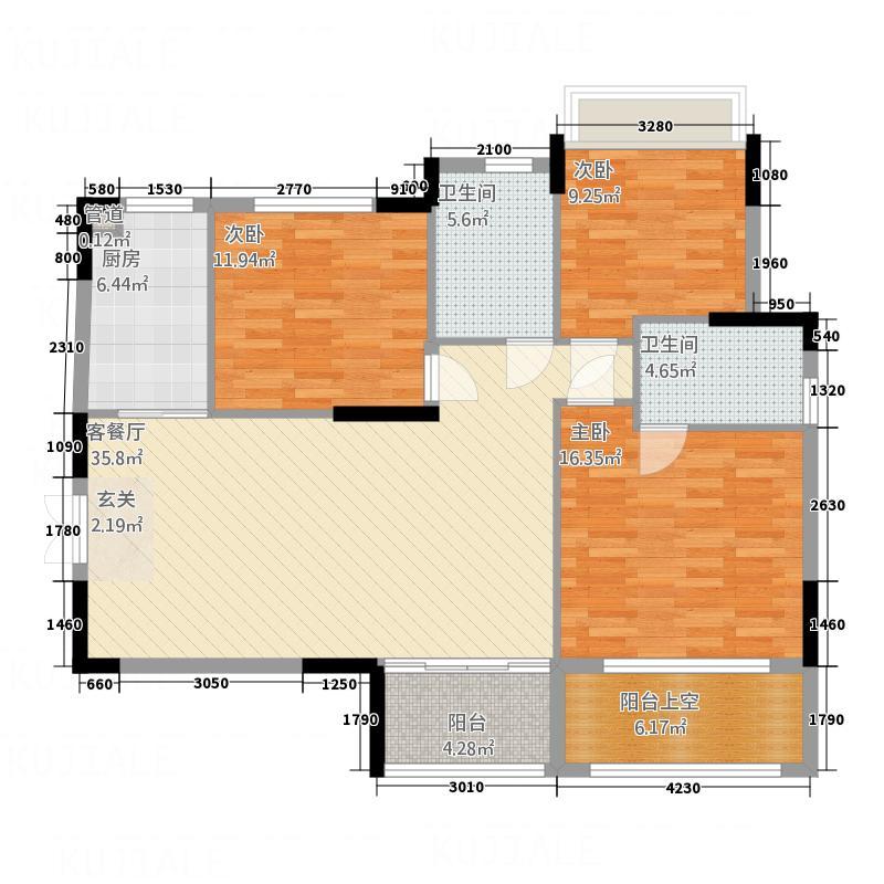 东部国际城D户型3室2厅2卫