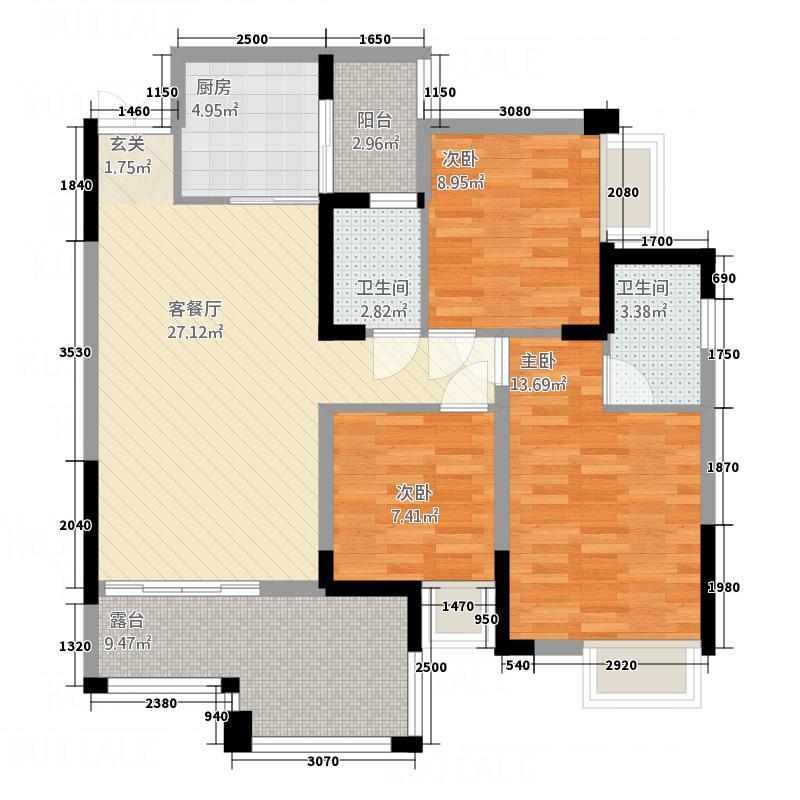 中迪国际社区214.36㎡F栋2户型3室2厅2卫1厨