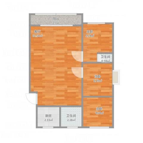北城嘉园3室1厅2卫1厨61.00㎡户型图