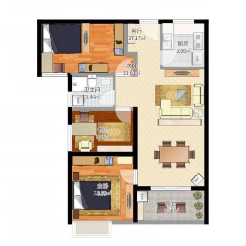 洛轴建设路3室1厅1卫1厨79.74㎡户型图