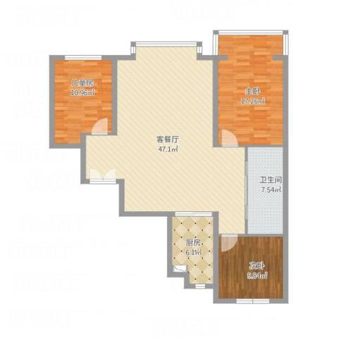 盛世华庭3室1厅1卫1厨129.00㎡户型图
