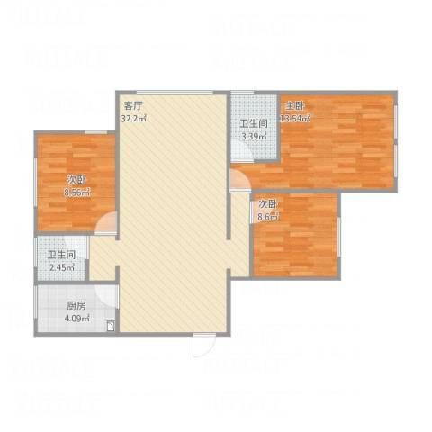 金色年华3室1厅2卫1厨98.00㎡户型图