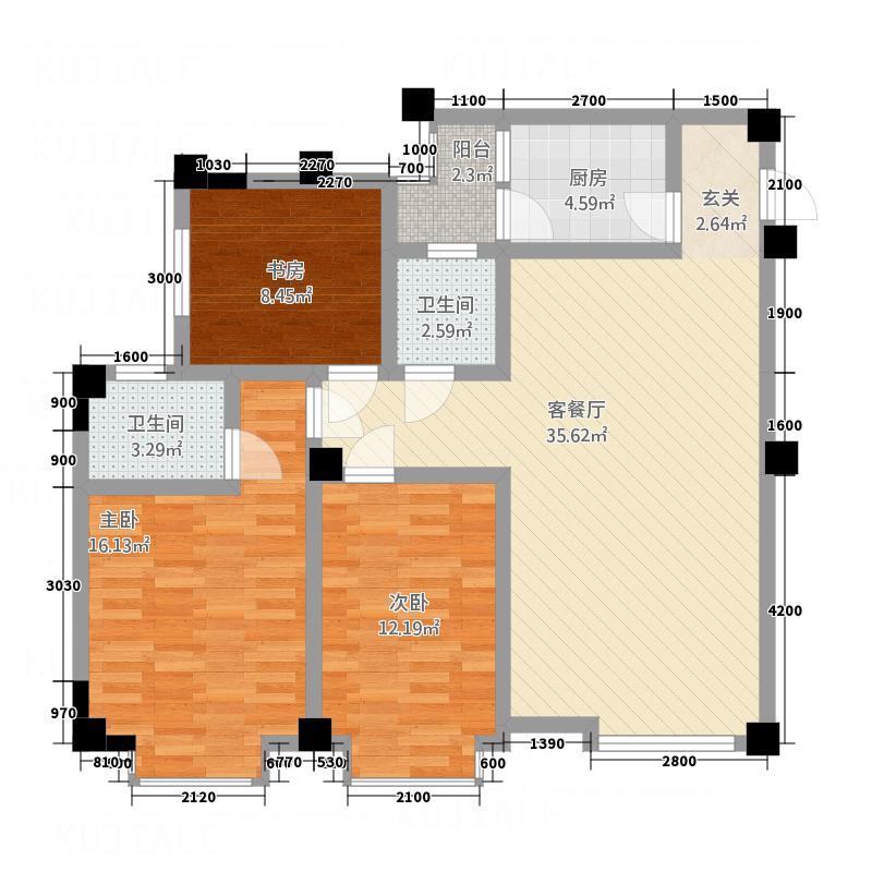 芙蓉金座114.00㎡A户型3室2厅2卫1厨