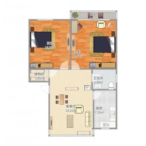 十五家园2室1厅1卫1厨101.00㎡户型图