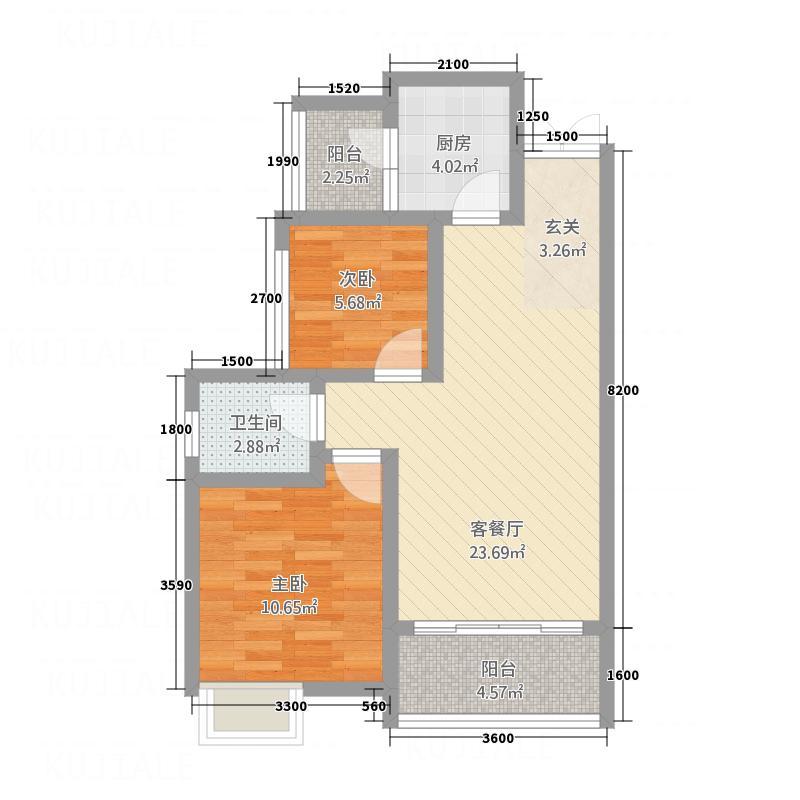 泰合・鹭岛江岸75.30㎡B3户型2室2厅1卫1厨