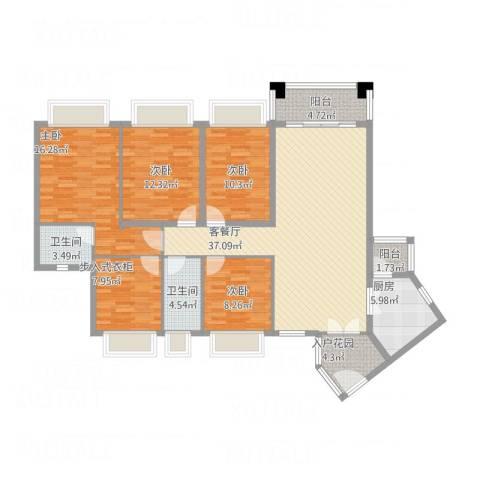 元邦明月金岸4室1厅2卫1厨166.00㎡户型图