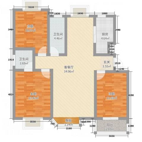 汇源华庭3室1厅2卫1厨122.00㎡户型图