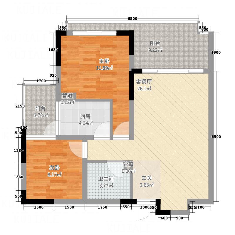 书香雅舍B1型户型3室2厅