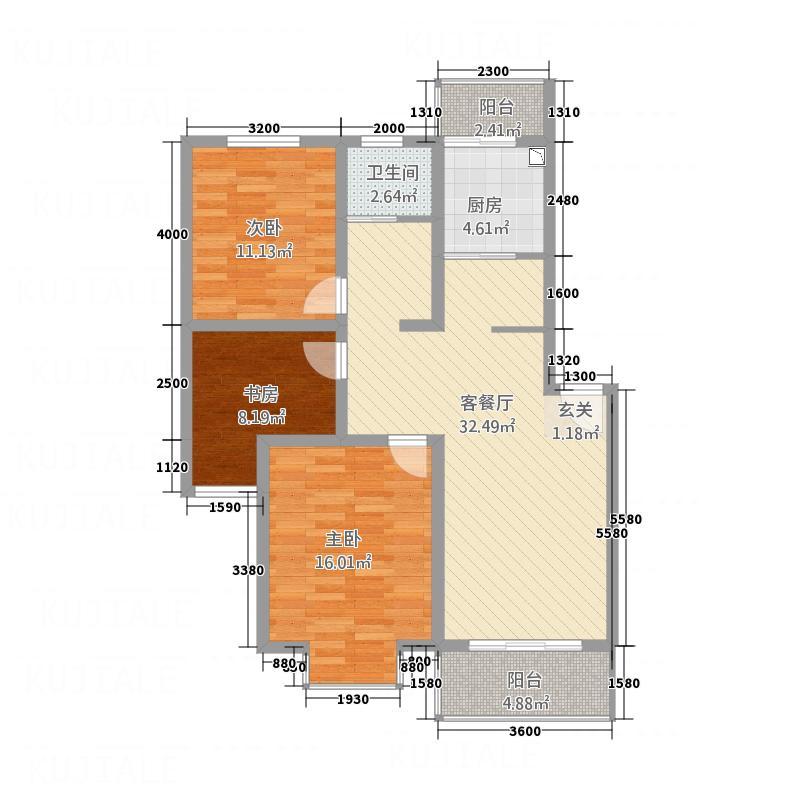 儒林学士府C6户型3室2厅1卫1厨
