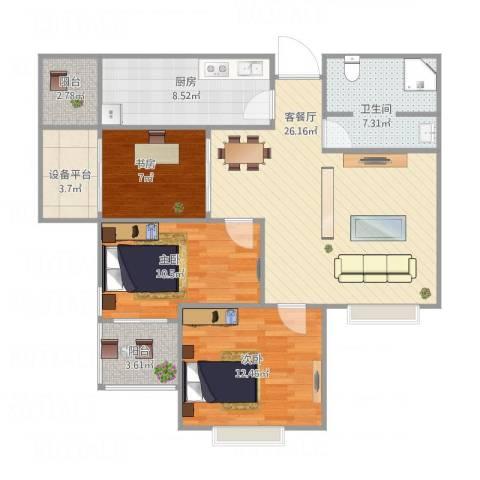 青枫墅园山语阁3-1-9033室1厅1卫1厨111.00㎡户型图