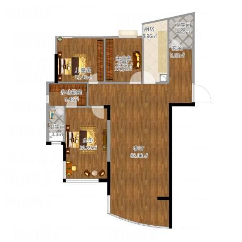 汉口春天(三期)2室1厅1卫1厨177.00㎡户型图