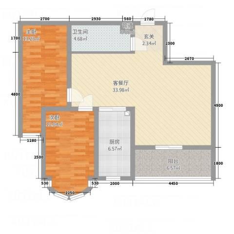 铂宫2室1厅1卫1厨111.00㎡户型图